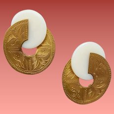 Exotic Etched Pierced Earrings Brass and Faux Jade
