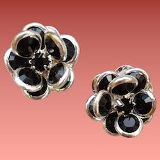 1970s Pierced Earrings Bezel Set Black Crystals