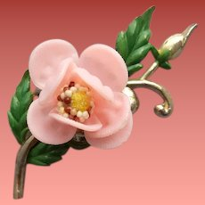 Large 1940s Brooch a Wild Rose Blossom With Enamel