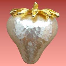 Big Fat White Strawberry Brooch J.J. Jonette Jewelry HTF