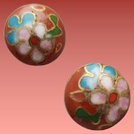 Pierced Earrings True Old Cloisonne Asian Beauties