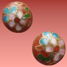 Pierced Earrings True Old Cloisonne Asian Beauties