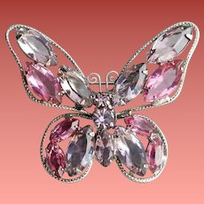 Luscious Butterfly Brooch Pink Lavender Exquisite Work