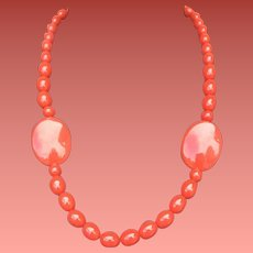 1970s Rosy Red Pink Bead Necklace 24 inches
