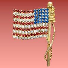 Rare Huge Vintage Rhinestone American Flag Brooch Left Facing