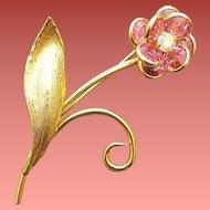 Pink Crystal Flower Brooch Swarovski Bezel Set