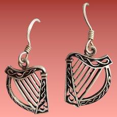 Sterling Silver Earrings Irish Harps Pierced 2.8 grams