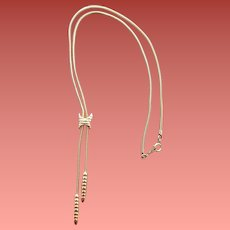 Gold Tone Necklace Lariat / Bolo Style by Artistry