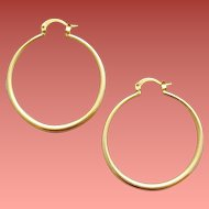 Vermeil Earrings Pierced Hoops Gold over Sterling 5.4 Grams