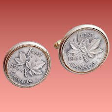 Vintage Cufflinks Faux Canadian Coin 1 Cent 1964