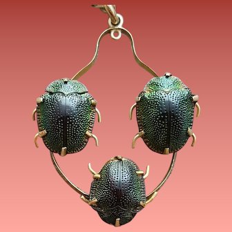 Victorian Real Scarab Necklace Egyptian Beetles