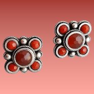 Faceted Coral and Sterling Silver Pierced Earrings 8.3 Grams