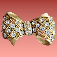 Vintage Rhinestone Bow Brooch Sparkle Minty