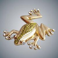 Rhinestone Tree Frog Brooch Minty