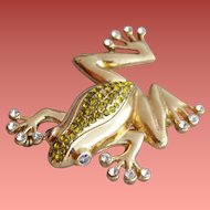 Rhinestone Tree Frog Brooch Ready to Leap Minty