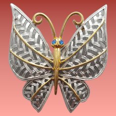 Large Butterfly Brooch Silver Gold Tone 1970s
