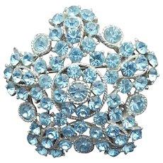 Sparkling Blue Rhinestone Brooch Vintage Va Voom