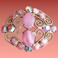 1960s Fancy Brooch Pink Marbled Cabs AB over Fuchsia Rhinestones