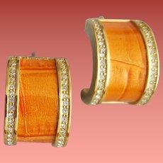 Sunkist Orange Enamel and Rhinestone Earrings Pierced