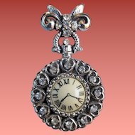 Vintage Fancy Faux Watch Ladies Lapel Brooch Rhinestones Bow Fob