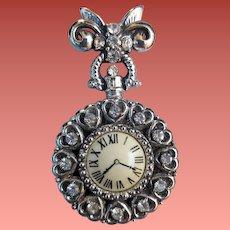 Vintage Fancy Faux Watch Ladies Lapel Brooch Rhinestones Bow Fob