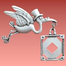 Flying Stork Brooch Holding Picture Frame Signed J.J.