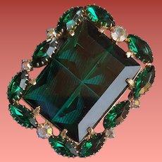 Unusual Emerald Green Rhinestone Brooch Pendant 1960s