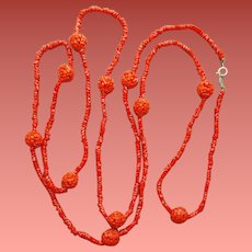 Extra Long Red Glass Necklace Faux Coral Assessocraft