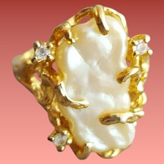 Vintage Ring Faux Baroque Freshwater Pearl and Rhinestones