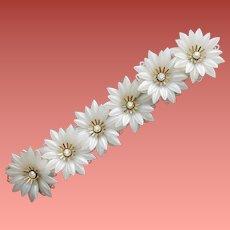 1950s Signed Coro Bracelet Soft Plastic Flowers Rhinestones Small
