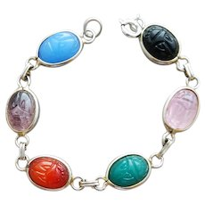 Glass Egyptian Scarab Link Bracelet Imitation Gems Size Small