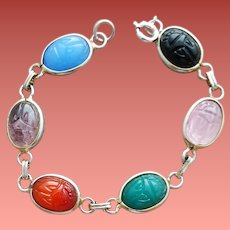 Glass Egyptian Scarab Link Bracelet Imitation Gems Size Small