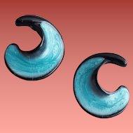 Pierced Earrings Enameled Icy Teal on Black Monet Unworn