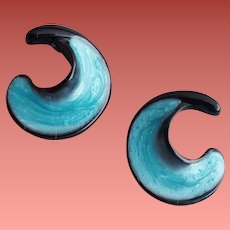 Pierced Earrings Enameled Icy Teal on Black Monet Unworn