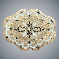 Ornate Victorian Brooch taille d'épargne Gold Filled