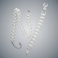 Unusual Sterling, Crystal and Faux Pearl Necklace Bracelet