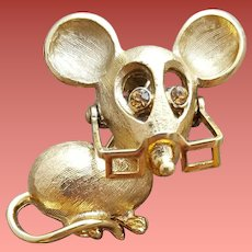 1970s Brooch Mouse with Moving Eye Glasses