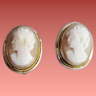 Real Shell Carved Cameo Earrings 800 Silver 1920s