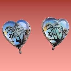 Sterling Heart Shaped Earrings Morpho Butterfly Wings