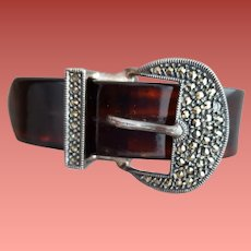 Celluloid Bangle Bracelet Sterling Buckle Marcasites Rare