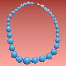 1970s - 1980s Trifari Necklace Sky Blue Beads