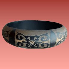 Exotic Wooden Bangle Bracelet Tattoo Black on Charcoal