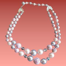1960s Necklace Lavender Pink Crystal Fancy Beads