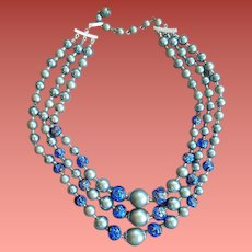 Triple Strand Necklace Teal and Foil Cobalt Blue Beads 1960s