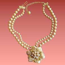 Champagne Bead Necklace Fancy Centerpiece 1960s