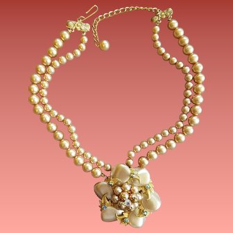 Champagne Bead Necklace Fancy Centerpiece 1960s
