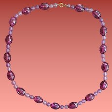Lucite Bead Necklace Royal Purple and Orchid 1970s