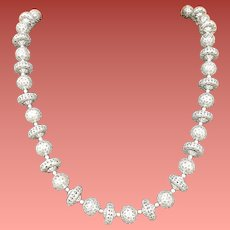 Vintage 1960s Necklace Filigree Aluminum Beads