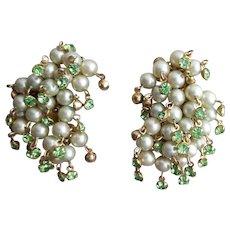 1950s Faux Pearl Earrings with Dangling Rhinestones