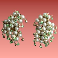1950s Faux Pearl Earrings with Dangling Rhinestones